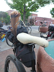 Gabe's Cowhide Saddle (RSpinnaKing) Tags: party get oregon ride time rad bikes outback bikepacking velodirt randognar