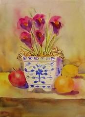 IRISES IN BLUE AND WHITE (BonnieBuchananKingry) Tags: flowers orange apple floral fruit lemon paintings irises blueandwhite
