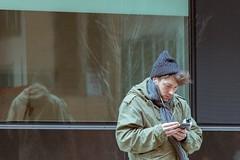 Cold Break (RaminN) Tags: street oregon portland splittoning reflection glass smartphone cellphone break smoking weather cold