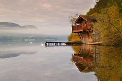 MORNING MIST (Tony Armstrong-Sly) Tags: lakedistrict boathouse ullswater mist autumn earlymorningmist reflection reflections trees sky clouds lakes lake