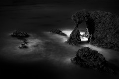 Pacific Arch (StefanB) Tags: 1235mm 2016 arch bw california coast em5 geotag longexposure monochrome outdoor pacific pismobeach sea seascape