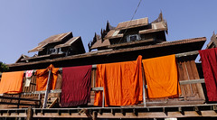 Drying monk robe at the wooden monastery (phuong.sg@gmail.com) Tags: asia asian bangkok belief buddha buddhism buddhist clean cloth clothes clothesline color colorful cotton cultural culture detail dirty doorway dress dry exotic fabric green holiday laos laundry line material monastery monk myanmar open orange orient oriental points prayer religion robe temple thailand tradition traditional travel wall wat window worship