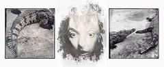 Somewhere in Between (Vanessa Vox) Tags: somewhereinbetween triptychs collage selfies selfportrait blackwhite vanessavox