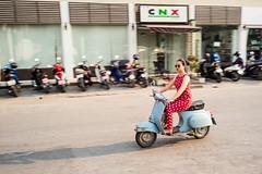 Passeggiata con La Vespa (Chiang Mai Thailand) (waex99) Tags: 2017 feb leica m262 travel asia chaingai chiangmai holidays mai rangefinder thailand vespa woman thai pan panning femme scooter chiang summaron 35mmf28