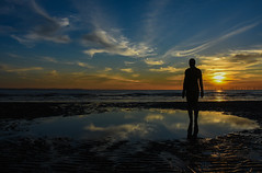 Take me to the beach. (Jonathan_Marsh) Tags: beach sunset art reflection anotherplace anthonygormley nikond7200 landscape liverpool crosbybeach