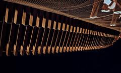 Overhanging eaves of the San-mon gate 1 (Tigra K) Tags: kyoto kyotoprefecture japan jp kyōtoshi kyōtofu 2012 architdetail color lattice night repetition rhythm wood pattern