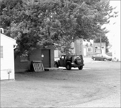 Fawn's Jeep (joeldinda) Tags: bw tree car buildings jeep michigan postoffice mulliken joeldinda c50
