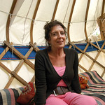 Anita Roddick in the Authors' Yurt at the 2004 Edinburgh International Book Festival