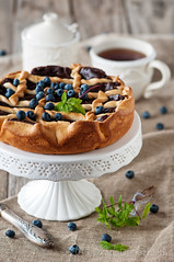 Chocolate cake (Oxana Denezhkina) Tags: party summer food brown white home beautiful cake closeup fruit dark pie table dessert cuisine berry sweet chocolate background decoration cream mint tasty plate nobody fresh gourmet made delicious slice pastry baked torte calories