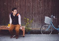 bikanchiku/husband (Nazra Zahri) Tags: autumn portrait man adam k japan bench asian japanese 50mm nikon raw sitting husband nikkor kurashiki 50mmf14d 2013 bikanchiku d700 vscofilm