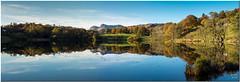 Loughrigg Tarn Panorama (Maria-H) Tags: uk autumn panorama reflection unitedkingdom lakedistrict panasonic cumbria langdalepikes gh3 loughriggtarn 35100 dmcgh3