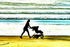 Going Off Roading (Steve Taylor (Photography)) Tags: ocean sea newzealand christchurch woman baby beach silhouette yellow lady walking golden sand brighton surf pacific wheels mother canterbury trainers southisland ponytail tyres pram pushchair newbrighton
