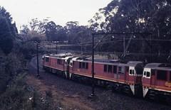 Dubbo descent (highplains68) Tags: railroad 35mm au rail railway australia nsw newsouthwales katoomba ektachrome400 8611 8631 8646 electricloco 86class 8376freighttrain