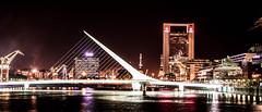 Puente de la mujer / womens bridge (- MAGA -) Tags: bridge light red color reflection water night ilobsterit