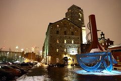 (Andrea Zaratin) Tags: christmas street city winter urban holiday snow toronto ontario canada reflection mill night shopping season walking landscape photography lights downtown cityscape district pedestrian historic distillery