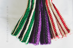 Striped Hand Warmers (Crochet Genie) Tags: red white black green hand purple stripes knit gloves knitted warmers fingerless crochetgenie crochetgeniecom hadnwarmers