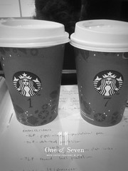 11: One & Seven (// Kuki //) Tags: bw cup coffee project one number starbucks seven htc htcwildfire