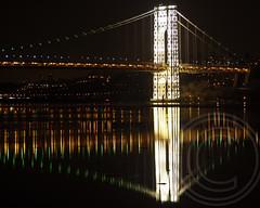 George Washington Bridge over the Hudson River, New York-New Jersey (jag9889) Tags: bridge orange ny newyork green night puente lights newjersey crossing suspension nj bridges ponte led pont hudsonriver superbowl brcke gw gwb waterway georgewashingtonbridge ledlights 2014 bergencounty othmarammann panynj portauthorityofnewyorkandnewjersey k007 jag9889 broncoorange seahawkgreen