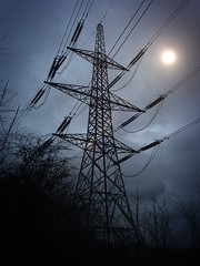 Electricity Pylon (ovington.kevin) Tags: camera uk trees winter england sky cloud ice nature landscape woods scenery british teesside app 4s iphone 645pro uploaded:by=flickrmobile flickriosapp:filter=original