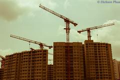 New flats under construction (gunman47) Tags: new building public buildings town construction singapore apartment flat crane board cranes punggol housing block sg hdb development