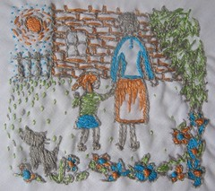 mother-daughter handkerchief (TheGirlintheLane) Tags: blue summer orange white flower cat mom grey spring kitten day handmade embroidery sewing mommy daughter mother sew mama mothers handkerchief stitched embroidered gree sewn hankie