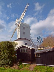 Saxtead Green Post Mill, Framlingham Suffolk. 05 04 2014 (pnb511) Tags: saxtead green post mill englishheritage suffolk rural east anglia windmill sky clouds scene fantail