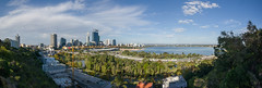 Perth Skyline Panorama (ajc--photography) Tags: park travel trees shadow vacation sky panorama holiday nature water clouds skyscraper river landscape high bush flora shadows view cloudy crane oz sigma australia wideangle bluesky panoramic lookout hills perth wa 1020mm kingspark stitched westernaustralia highup downunder swanriver theswan bushland travelphotography landscapephotography