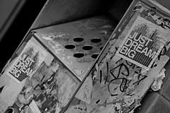 just dream big (armykat) Tags: blackandwhite bw streetart canada monochrome sticker quebec montreal dream urbanart dreams publicart slap themontrealinvasionof2015 justdreambig