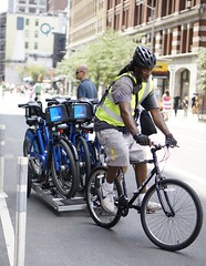 Bicycle tower (Z!SL) Tags: street nyc newyorkcity people urban newyork male bike bicycle cityscape min citibike sonyphotographing streetlevelphoto emount sel50f18 nex5r