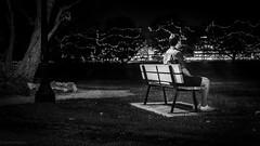 Waiting... (0kreadyg0) Tags: park light boy white man black tree male monochrome grass night bench chair alone sitting sony sigma monochromatic sit nights late leisure lonely dslr 30mm mirrorless a6000 emount sonya6000