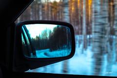 temperature variety (Jakw-) Tags: outdoor ajosta auto car forest highway maisema maisemat peili speed sunset värit