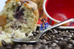 Coffee and Cake Stop (pedalpusher139) Tags: macro model people cyclist coffee cake