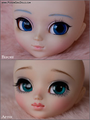 Before & After - Pullip Snow Miku (-Poison Girl-) Tags: pink brown snow girl closeup hair grey eyes doll long paint dolls eyelashes handmade turquoise bald makeup fringe polka dot planning jp wig groove pullip brunette straight poison bangs dots custom pullips jun poisongirl polkadot haircolor customs 163 miku faceup eyechips junplanning rewigged pullipcustom rechipped mayyuki