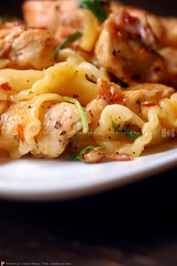 Campanelle with Chicken (PHUDE-nyc) Tags: red chicken cheese bells ham pasta pork greens onion truffle parmesan redpepper rendered sautee redonion arugula redonions kac redpepperflakes campanelle baconfat quickpost redpepperflake cookingin phude kacnyc phudenyc thecheeseboroarms