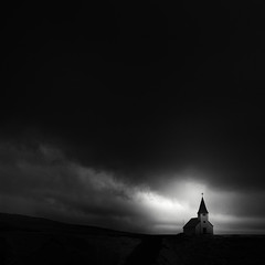Vik Church Infrared (Andrew J Lee) Tags: church monochrome square mono iceland vik infrared