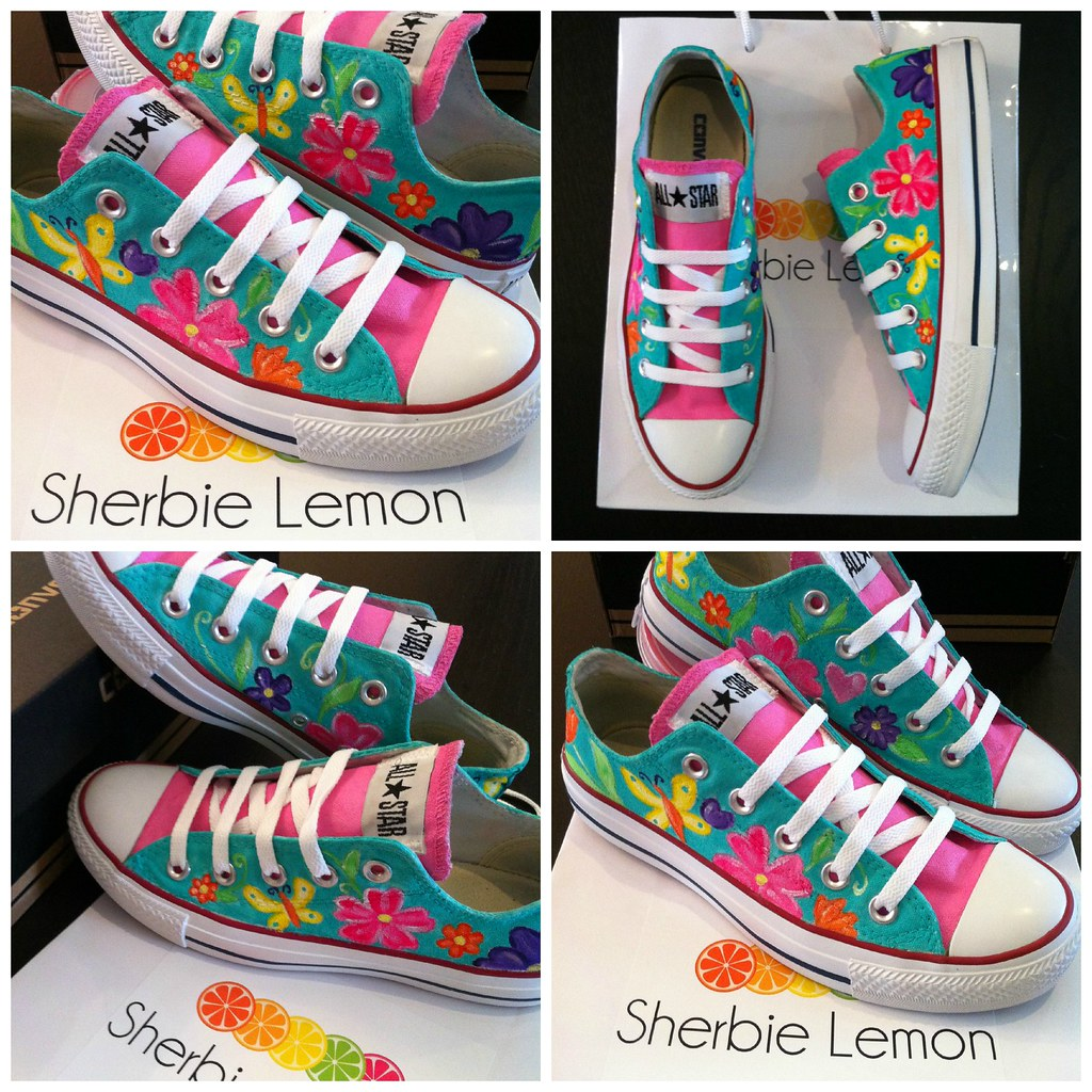 76eaf1f6561597 pink  amp  green custom converse (Sherbie lemon) Tags  pink flowers lemon  hand