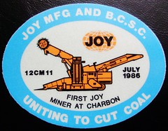 JOY MFG AND B.C.S.C. FIRST JOY MINER AT CHARBON JULY 1986 (Trawler68) Tags: sticker joy july first mining and 1986 miner charbon mfg at bcsc