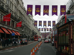 Celebrating queens 60 years coronation banners purple gold Regent Street London England 15th June 2013 republic 15-06-2013 17-42-15 (dennoir) Tags: