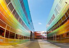 La Défense Almere 3 (genf) Tags: shadow sun color building regenboog architecture la rainbow sony fisheye schaduw defense zon kantoor almere gebouw kleur uwv a700