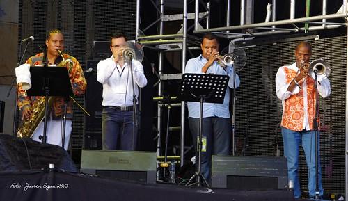 Frank Renteria, Diego Giraldo, José Aponzá y Fabio Lucumí con Mambanegra
