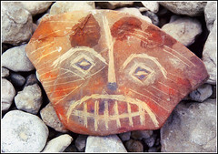 stoned/MASK (plismo) Tags: red ontario canada colour art face stone composition mask manitoulinisland plismo