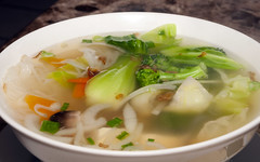 Vegetable soup 014 (Pat Durkin OC) Tags: food mushrooms soup vietnamese beansprouts pho broth bokchoi ricenoodles greenchiles 18105mm veggiepho