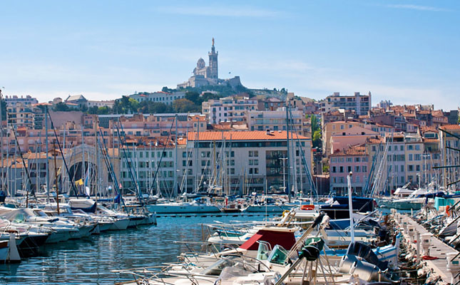 The Old Port of Marseille with the basilica of Notre Dame de la Garde in the background