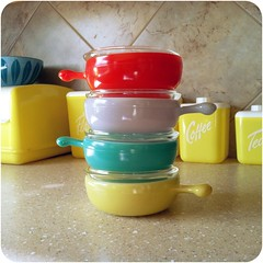 Set of four vintage Glasbake French casseroles with lids (laura_libert) Tags: red kitchen yellow vintage turquoise casseroles glasbake lustroware cathrinholm uploaded:by=flickrmobile flickriosapp:filter=nofilter