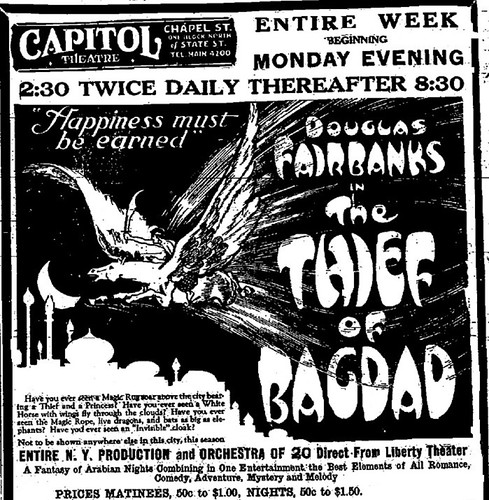 capitol theater Douglas Fairbanks The Thief of Bagdad movie ad late 1920s albany ny