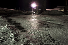 Icy Parking Lot (Curtis Gregory Perry) Tags: light snow cold ice night nikon long exposure pavement parking freezing lot timberlinelodge d800e