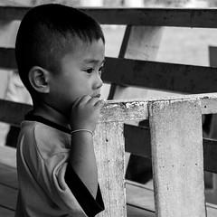 Thinking (Dick Verton) Tags: travel blackandwhite bw thailand asia child kinderen thinking schoolboy fench dickverton
