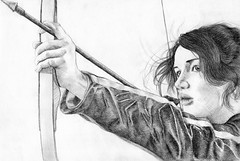 Katniss Everdeen (Jo/ulie) Tags: portrait art pencil movie fan drawing fanart bow arrow jenniferlawrence katniss hungergames katnisseverdeen