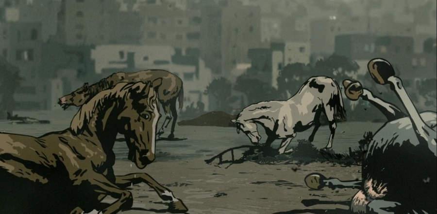 Умирающие лошади на ипподроме в Бейруте во время Ливанской войны 1982 года. Кадр из мультфильма «Вальс с Баширом»