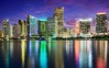 Tropical Blue (Sky Noir) Tags: city travel blue skyline night reflections photography lights mix colorful downtown cityscape miami centercity shoreline azure shades tropical bluehour magichour skynoir pwnight pwpartlycloudy